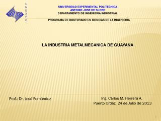 UNIVERSIDAD EXPERIMENTAL POLITECNICA  ANTONIO JOSE DE SUCRE DEPARTAMENTO DE INGENIERIA INDUSTRIAL