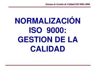 NORMALIZACI�N ISO  9000: GESTION DE LA CALIDAD