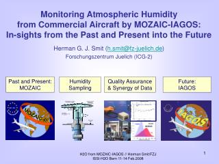 Monitoring Atmospheric Humidity  from Commercial Aircraft by MOZAIC-IAGOS: