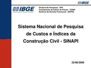 Diretoria de Pesquisas - DPE Coordenação de Índices de Preços - COINP
