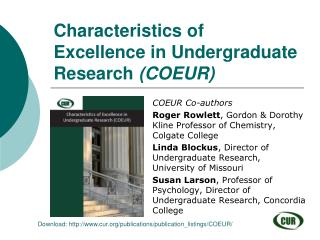 Characteristics of Excellence in Undergraduate Research  (COEUR)