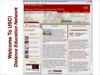 Welcome To USC! Distance Education Network