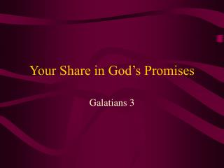 Your Share in God's Promises