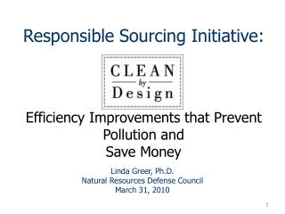 Responsible Sourcing Initiative:     Efficiency Improvements that Prevent Pollution and  Save Money