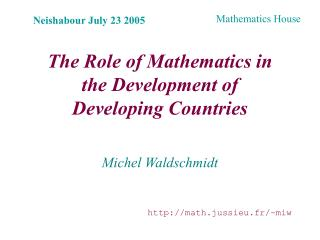 The Role of Mathematics in the Development of Developing Countries