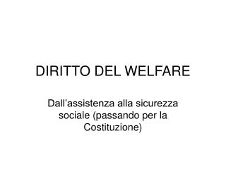 DIRITTO DEL WELFARE