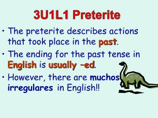 The  preterite  describes actions that took place in the  past .