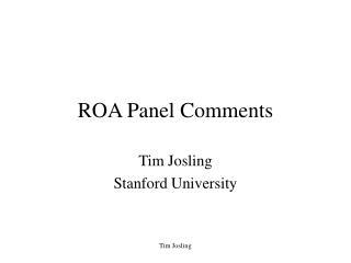 ROA Panel Comments