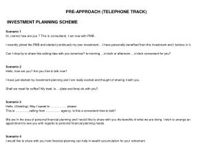 PRE-APPROACH (TELEPHONE TRACK)