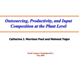 Outsourcing, Productivity, and Input Composition at the Plant Level
