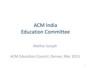 ACM India Education Committee