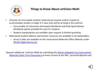 Things to Know About  enVision  Math