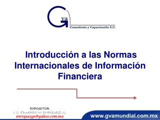 Introducción a las Normas Internacionales de Información  Financiera