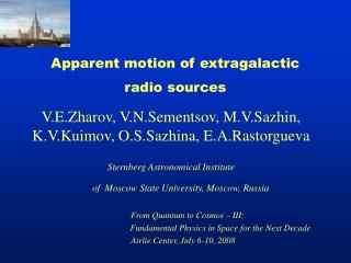 Apparent motion of extragalactic  radio sources
