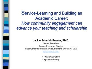 Jackie Schmidt-Posner, Ph.D. Senior Associate Former Executive Director