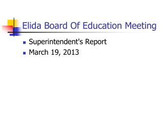 Elida Board Of Education Meeting