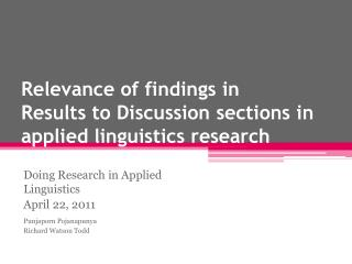 Relevance of findings in  Results to Discussion sections in applied linguistics research