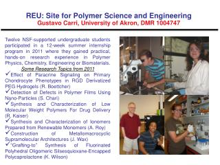 REU:  Site for Polymer Science and Engineering  Gustavo  Carri , University of Akron, DMR 1004747