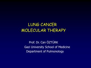 LUNG CANCER              MOLECULAR THERAPY Prof. Dr. Can ÖZTÜRK