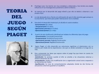 TEORIA DEL JUEGO SEGÚN PIAGET