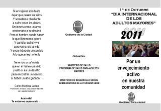 ORGANIZAN: MINISTERIO DE SALUD PROGRAMA DE SALUD PARA ADULTOS MAYORES