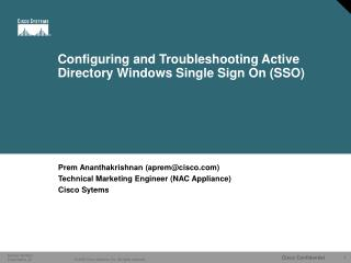 Configuring and Troubleshooting Active Directory Windows Single Sign On SSO