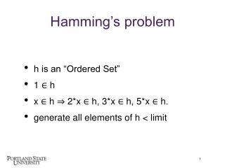 Hamming s problem