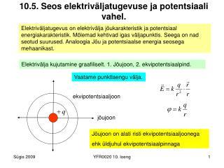 10.5. Seos elektriväljatugevuse ja potentsiaali vahel.