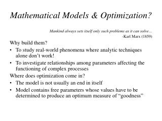 Mathematical Models & Optimization?