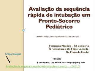 Avaliação da sequência rápida de intubação em Pronto-Socorro Pediátrico