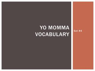 Yo  Momma Vocabulary