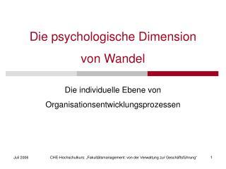 Die psychologische Dimension von Wandel