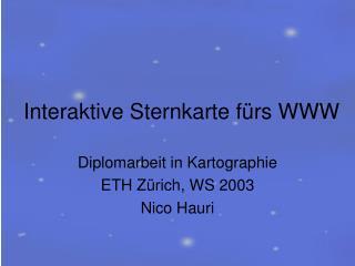 Interaktive Sternkarte f�rs WWW