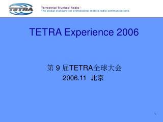 TETRA Experience 2006
