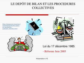 LE DEPÔT DE BILAN ET LES PROCEDURES COLLECTIVES