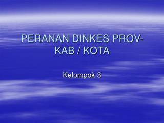 PERANAN DINKES PROV- KAB / KOTA