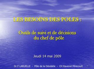LES BESOINS DES POLES :  Outils de suivi et de d cisions            du chef de p le   Jeudi 14 mai 2009