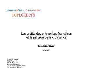 Les profits des entreprises françaises et le partage de la croissance