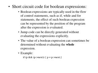 Short circuit code for boolean expressions: