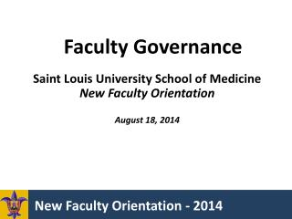 New Faculty Orientation - 2014