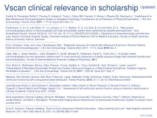 Vscan clinical relevance in scholarship