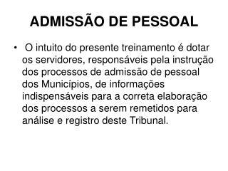 ADMISSÃO DE PESSOAL