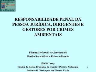 RESPONSABILIDADE PENAL DA PESSOA JURÍDICA, DIRIGENTES E GESTORES POR CRIMES AMBIENTAIS