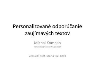 Personalizované odporúčanie zaujímavých textov