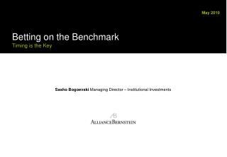 Sasho Bogoevski  Managing Director – Institutional Investments