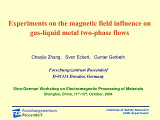 Experiments on the magnetic field influence on gas-liquid metal two-phase flows