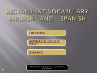 Restaurant Vocabulary English   and    Spanish