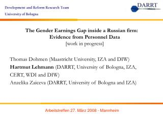 The Gender Earnings Gap inside a Russian firm:  Evidence from Personnel Data [work in progress]