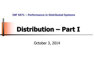 Distribution – Part I