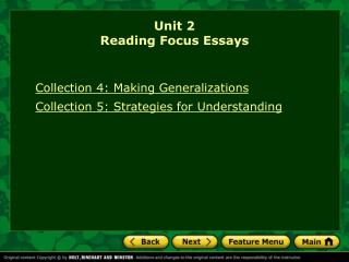 Unit 2 Reading Focus Essays